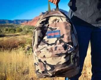 Rare Vintage Backpack, Camo Backpack, Jansport Backpack, Camouflage Backpack, Vintage Day Pack, Vintage Jansport, Vintage Camo Backpack