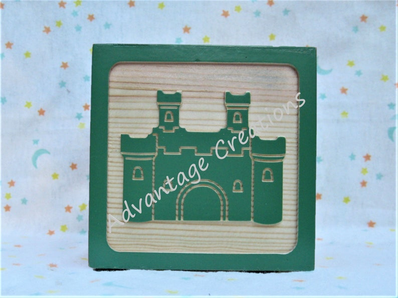 Great baby gift keepsake for newborn : 4 alphabet picture frame wood block King/'s Castle or other special occasions wedding A to Z.