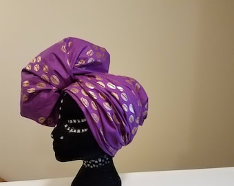 African Cowrie Shells Head Wrap, Purple/Gold, Ankara Head Wrap, African Print Head Wrap, African Scarf, African Turban, Dashiki Head Wrap