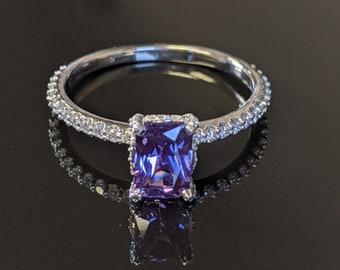 Natural Purple Sapphire & Diamond Engagement Ring