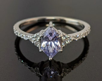 Unique Lavender Sapphire and Diamond Engagement Ring in White Gold