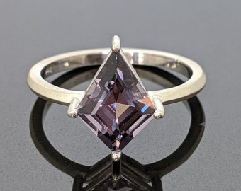 Grey Spinel Kite Shape Solitaire Ring 14k White Gold 2.12ct