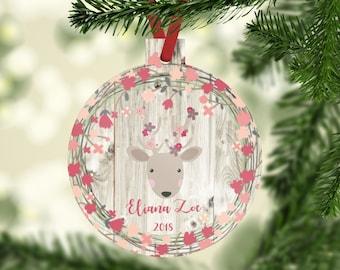 Personalized Little Girl Deer Christmas Ornament, Baby Girl Ornament, Baby's First Christmas, Kids Christmas Decor, Christmas Tree Decor