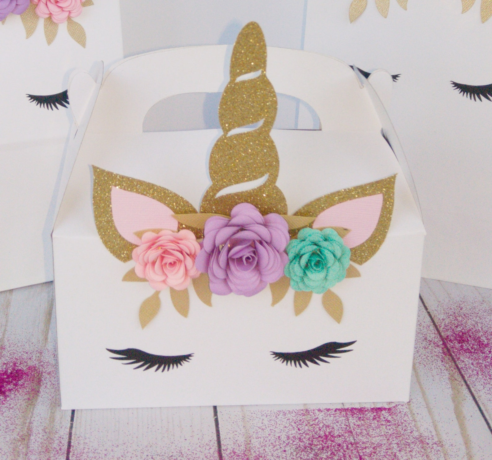 Unicorn Party Favor Boxes for 6 Guests