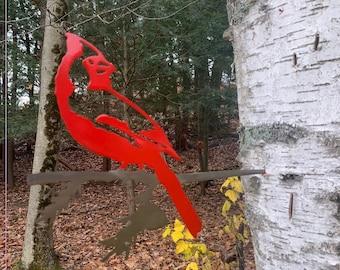 Metal Bird Cardinal on Branch Ornament Powder Coated