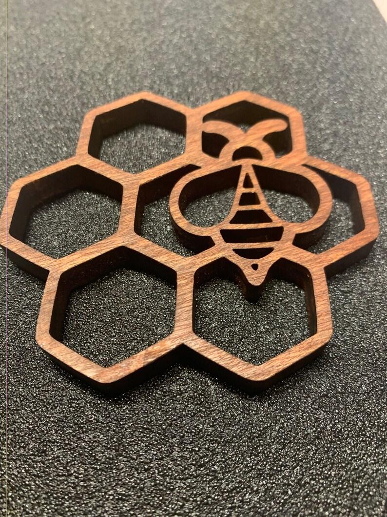 Honeybee on Honeycomb Coaster Bee Coaster image 0