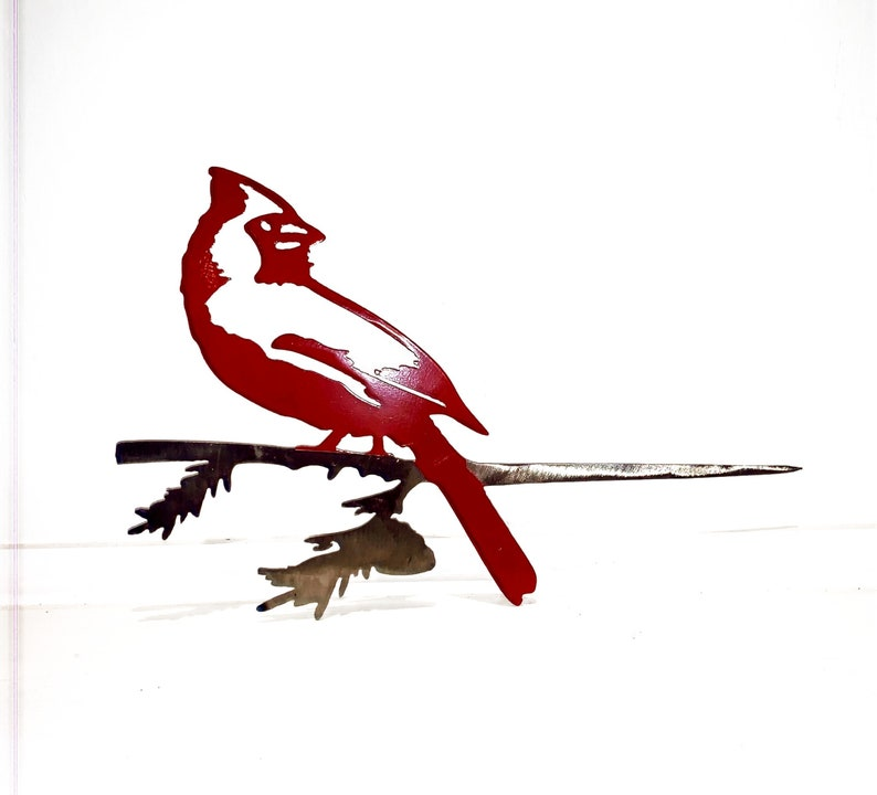 Metal Bird Cardinal on Branch Ornament Powder Coated image 0