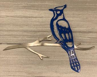 Metal Bird Blue Jay Tree Mount
