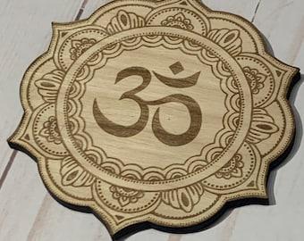 Om Mandala Laser Engraved Crystal Grid