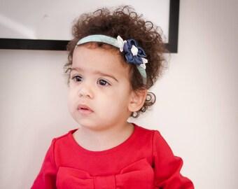 Baby headband. Little girl headband. Flower headband. Headband. Headband for little girls. Baby shower gift. Mint headband. Blue headband.