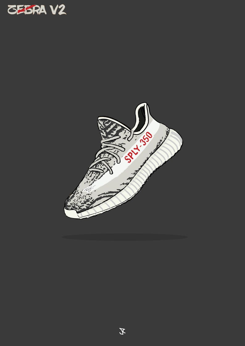 new product 06b35 51d87 YEEZY 350 BOOST - Zebra Illustrated Poster Print | A2