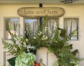WREATH DOOR Hanger, Front Door Wreath Hanger, Home Sweet Home Over Door Hanger, Farmhouse Sign Decor, Housewarming Gift