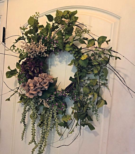 Front Door Wreath Hydrangea Wreath Farmhouse Wreath Front Etsy