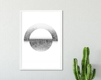 Geometric Printable Wall Art, Winter Print, Geometric Forest Poster,