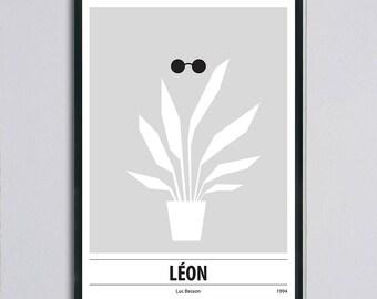 Modern retro movie poster, Leon (The Professional), minimal poster,