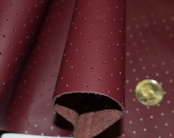 Leather Perforated Cowhide Upholstery Burgundy Avg 22 Sq Ft Craft Auto Hide LC-11
