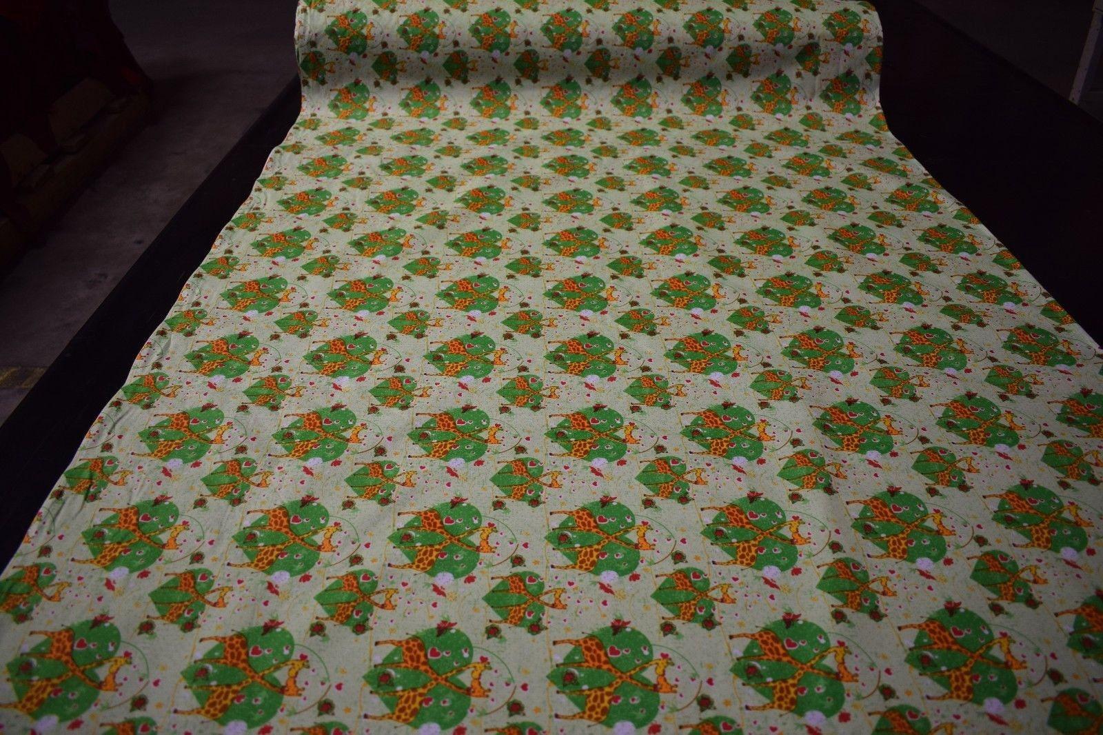 Green Giraffe Heart Print Quilting Fabric Craft Apparel Upholstery
