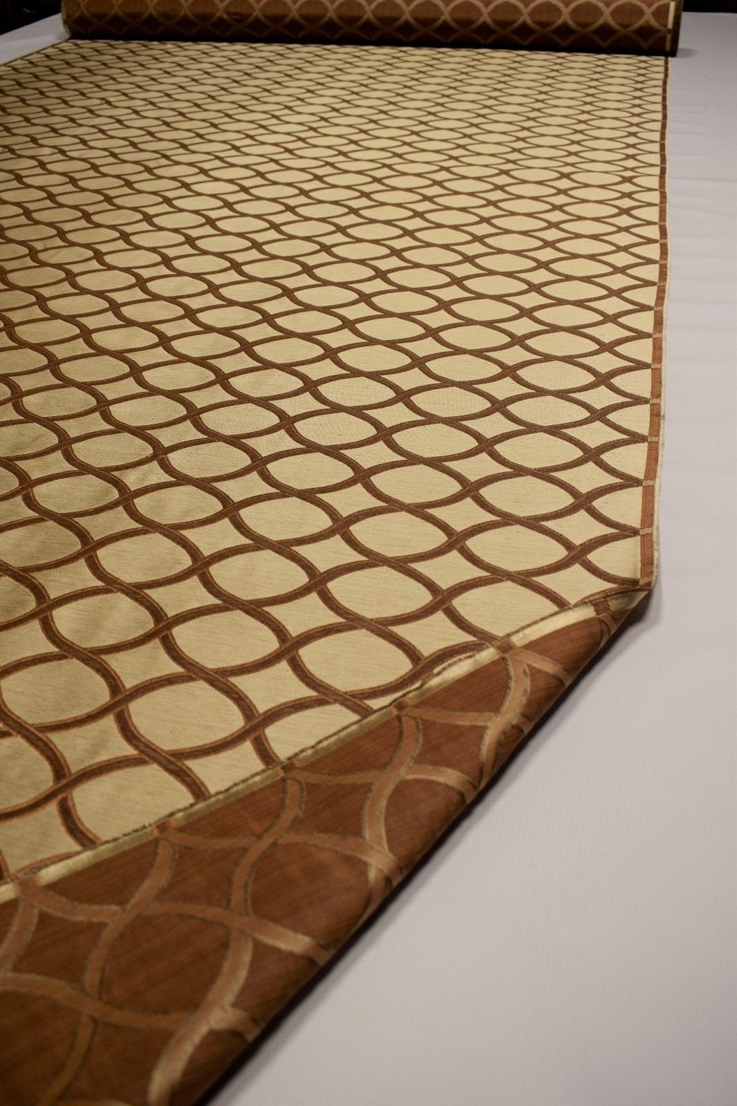 Silk Linen Blend Fabric Fabricut Bruckheimer Ginger Tan Drapery Upholstery FC19