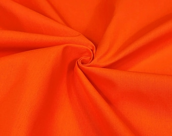 """Cotton Canvas Duck Fabric Safety Orange 7 Oz 75"""" W Upholstery Soft Tablecloth"""