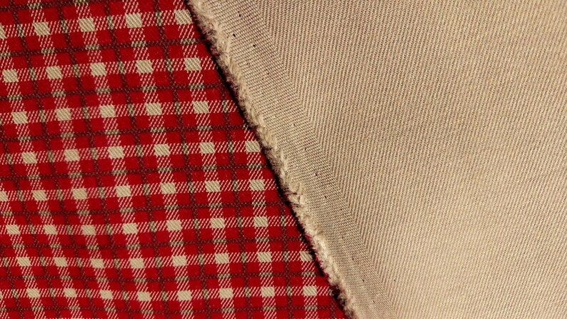Red Plaid 7 oz Nomex Aramid Canvas Twill Fabric 63W Soft Flame Retardant FR