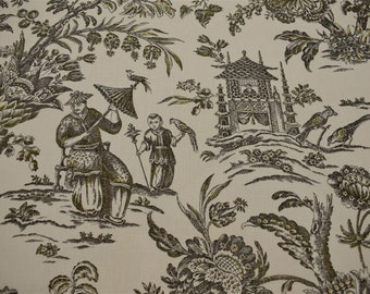 "Asian Toile Print Upholstery Drapery Fabric Waverly 100% Linen 55"" Williamsburg"