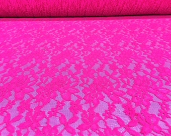 """Neon Pink 4 Way Stretch Floral Lace Fabric Apparel Crafts 57"""" Wide By The Yard"""