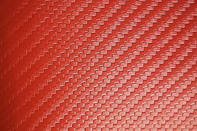 Fire Red Carbon Fiber Faux Leather Fabric Vinyl Auto Upholstery 54