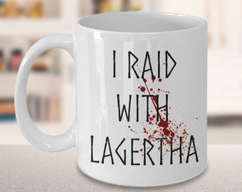 I Raid With Lagertha White Mug Splattered with simulated blood, this mug is a must have for any Lagertha fan. Lagertha fans unite!