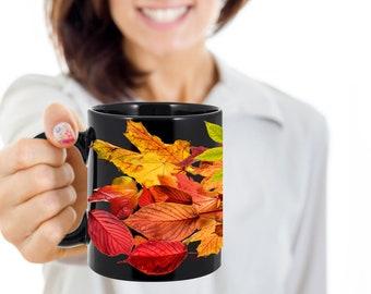 Autumn Leaves Black Mug