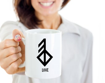 """Love Viking Rune Mug For a truly great lovers gift, we recommend a set of these fine mugs with the runic symbol for """"love"""" on the side."""