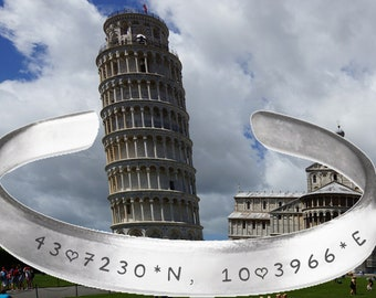 Tower of Pisa, Italy, Travel, Coordinates, map, GPS, Bracelet, Wrist cuff, Stamped Bracelet, jewelry, adjustable bracelet,