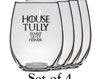 Game of Thrones, House Tully Set of Four 21 oz Stemless Wine Glass, Laser Etched, Simply Elegant