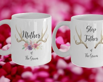 Mother and Step Father of the groom White Ceramic Coffee Mug |Wedding Gift | Engagement Gift | Anniversary| Newly Weds| Couple| Bride|Groom
