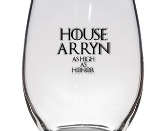 Game of Thrones, House Arryn 21oz Stemless Wine Glass, Laser Etched, Simply Elegant