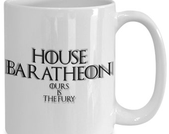 House of baratheon personalized game of thrones coffee mug for the fan of either game of thrones tv series/ video game