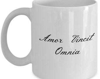 Love Conquers All White Ceramic Coffee Mug