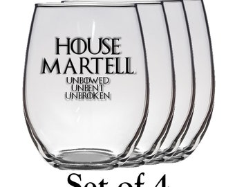 Game of Thrones, House Targaryen Set of Four 21 oz Stemless Wine Glass, Laser Etched, Simply Elegant