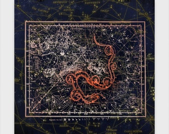 Draco Star Chart Poster, poster, stars, celestial, astrology, astrological, star chart, serpent, leo, solar system, map, space, star map