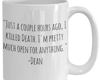 "Supernatural ""i killed death"" Dean coffee mug"