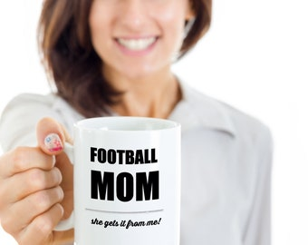 Football mom, sports, football, mom, kids, son, daughter, parent, athlete, funny mug, gift, mothers day, mom and daughter, mother and son