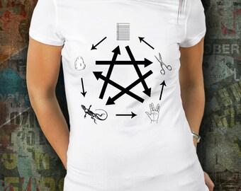 Rock, Paper, Scissors, Lizard, Spock, geek shirt, nerd shirt, big bang, geek wear, womens shirt, rock paper scissors, funny shirt, humor