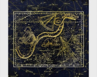Hydra Star Chart Poster, stars, celestial, astrology, astrological, star chart, serpent, leo, solar system, map, space, star map