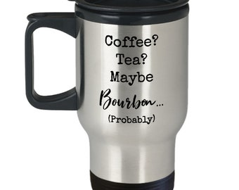Coffee tea maybe bourbon (probably) silver stainless steel travel mug