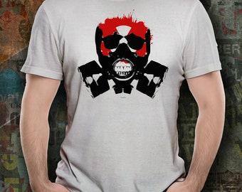 Chemical Warfare, skull, war, tshirt, gas mask, mens shirt, biohazard, nuclear, hazardous material, rave, gift for boyfriend, husband