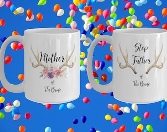Mother and step father of the bride White Ceramic Coffee Mug |Wedding Gift | Engagement Gift | Anniversary| Newly Weds| Couple| Bride|Groom