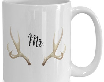 Mrs. with deer antler and flowers White Ceramic Coffee Mug |Wedding Gift | Engagement Gift | Anniversary| Newly Weds| Couple| Bride| Groom|