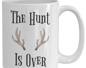 The bride hunted for the groom, it's over, the groom is hooked, white ceramic coffee mug |wedding gift | engagement gift | anniversary| n...
