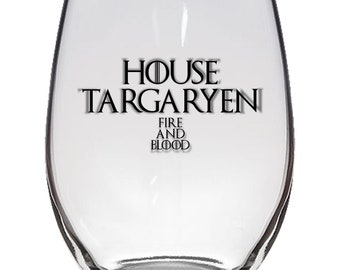 Game of Thrones, House Targaryen 21oz Stemless Wine Glass, Laser Etched, Simply Elegant