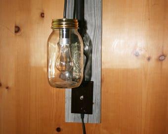 Wall Lamp with Mason Jar and Barn wood