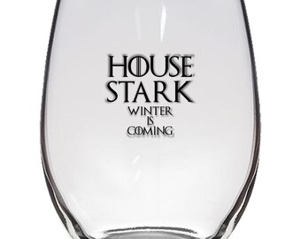 Game of Thrones, House Stark 21oz Stemless Wine Glass, Laser Etched, Simply Elegant